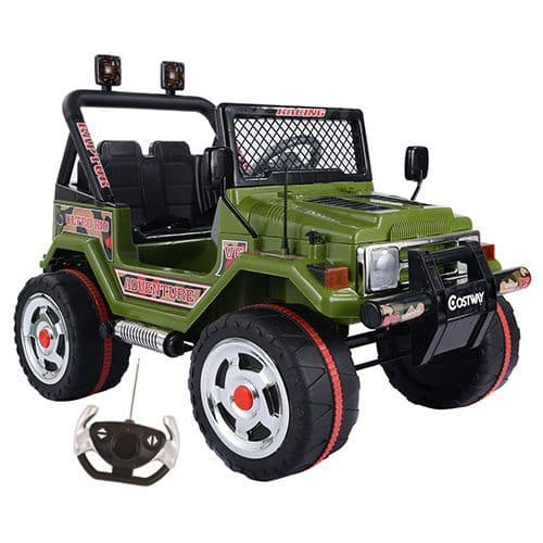 12v Battery-Powered  Powered 4x4 Green Two Seater Jungle Jeep