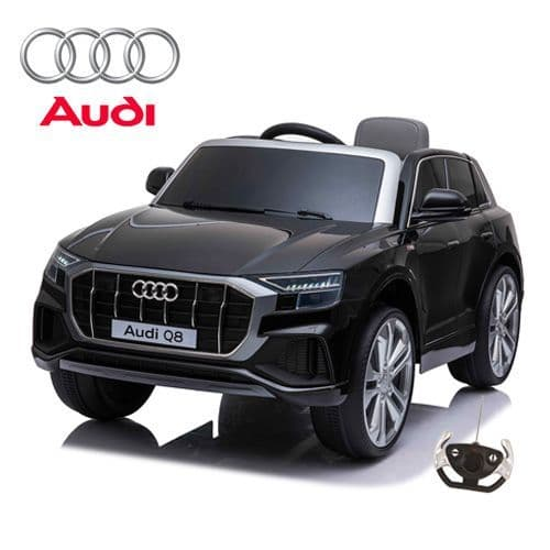 12V Official Black Audi Q8 Childs Battery-Powered Ride On SUV with remote