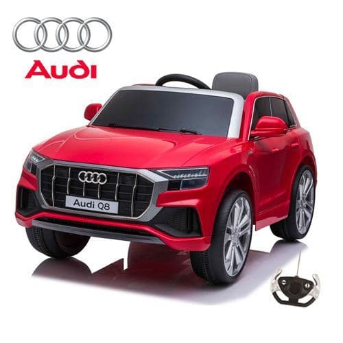 12V Official Red Audi Q8 Childs Battery-Powered Ride On SUV with remote