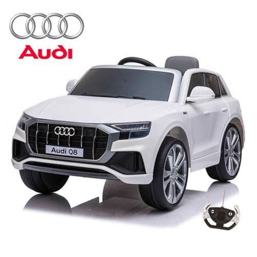 12V Official White Audi Q8 Childs Battery Ride On Jeep with Remote