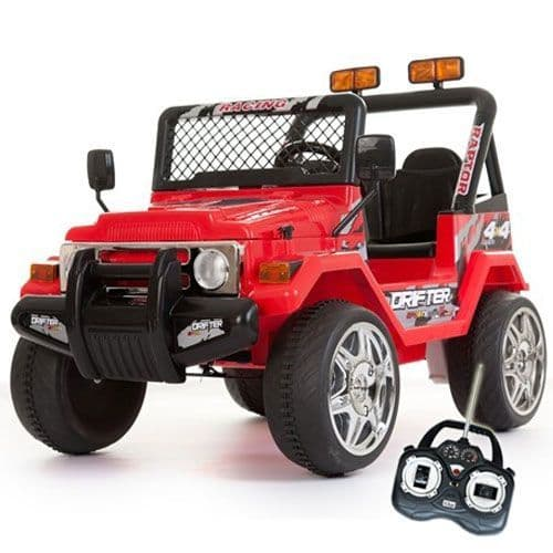 12v Red Two Seater Off Road Childs Battery-Powered Jeep