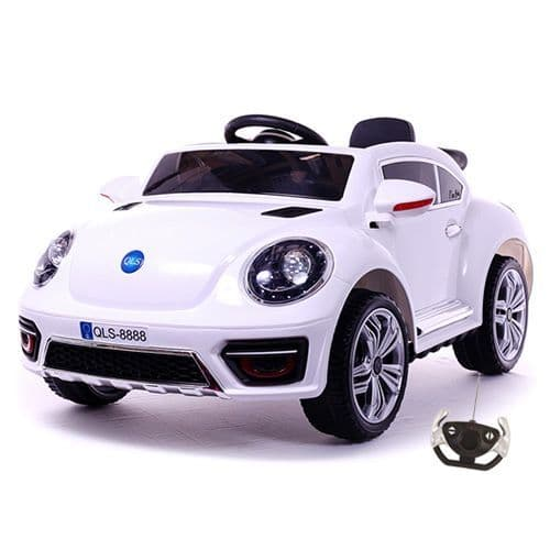 12v White New Beetle Style Ride-in Car Convertible with Remote