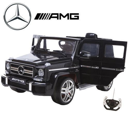 Black 12v Official Mercedes G63 Childs Wagon with High Doors