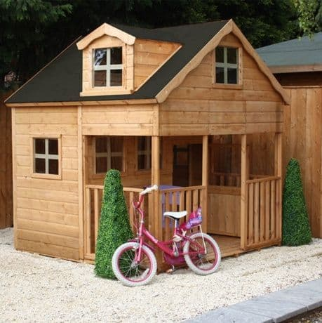 Deluxe Jumbo Kids Two Storey Wooden Playhouse With Porch