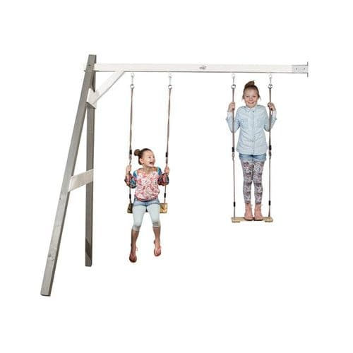 Norfolk Grey/White Painted Wooden Double Wall Mount Swing Set