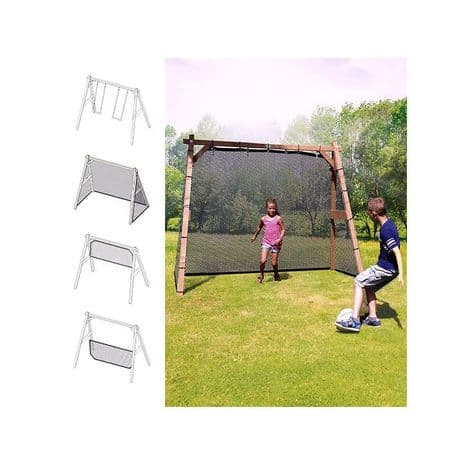 Suffolk Kids Natural Wooden Swing Set with Combi Football Goal and Volleyball Net