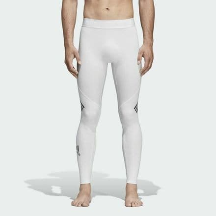 Adidas Alphaskin Sport+ Long 3-Stripes  White Tights