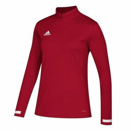 Adidas Team Wear Jacket Womens T19 1/4 Zip Long Sleeve Red - DX7320