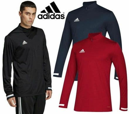Adidas Team Wear Mens T19 Sports Quater Zip Track Jacket - Gym Training