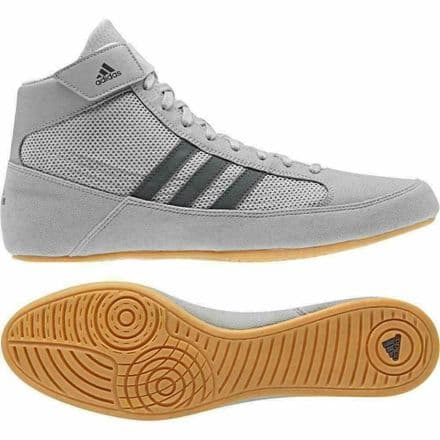 Adidas Wrestling Kids Boots - Childs Havoc Boxing Shoes Grey - AC7503