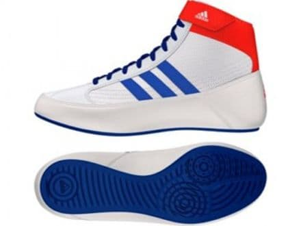 Adidas Wrestling Kids Boots - Childs Havoc Boxing Shoes White Blue - G25909