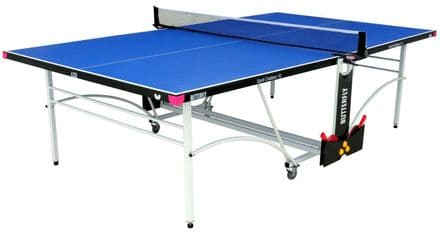 Butterfly Spirit Outdoor 10 Table Tennis Table - Blue - with protective cover
