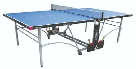 Butterfly Spirit Outdoor 12 Table Tennis Table - Blue - with protective cover