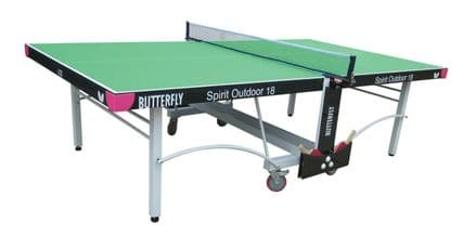 Butterfly Spirit Outdoor 18 Table Tennis Table - Green - with protective cover