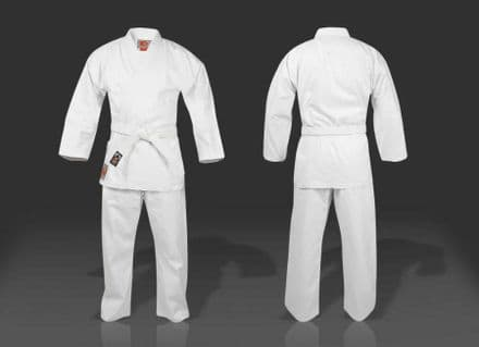 KO Karate 100% Cotton Adult White Student Gi Suit Uniform Free Belt 8.5oz