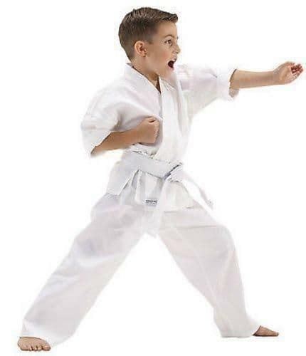 KO Karate Kids 10oz Itosu Middleweight Student Karate Gi Suit Uniform + Free Whi