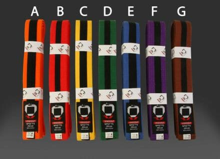 KO Martial Arts Coloured Belt with Black Stripe -  Karate Judo 180 -350cm