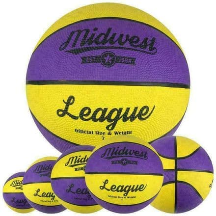 Midwest League Basketball Yellow/Purple - Available in Sizes 3, 5, 6, 7