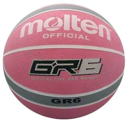 Molten Light Pink/Grey Rubber Basketball