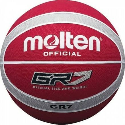 Molten Red/Silver Rubber Basketball