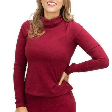 Myga Womens Top Polo Neck Long Sleeve Workout Activewear Red