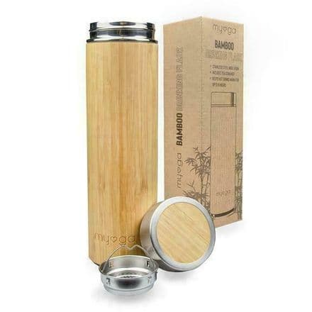 Myga Yoga Bamboo Flask Double Walled Stainless Steel Insulated