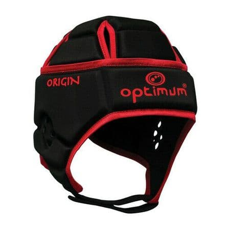 "OPTIMUM RUGBY HEADGUARD ""ORIGIN"" BLACK/RED"