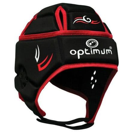 "OPTIMUM RUGBY HEADGUARD ""TRIBAL"" BLACK/RED"