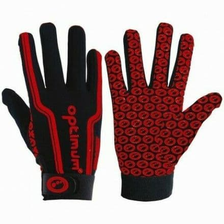 "OPTIMUM RUGBY ""VELOCITY"" FULL FINGER GLOVES RED"
