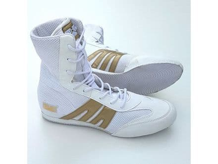 Pro Box Boxing Boots - Adults Sparring Training Shoes White Gold