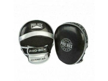 Pro Box Boxing Focus Pads - Air Champ Spar Mitts Black Silver