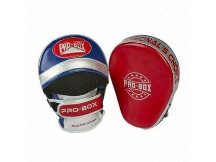 Pro Box Boxing Focus Pads - Champ Spar Curved Mitts Red Blue silver