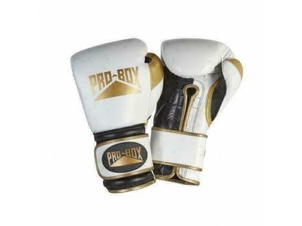 Pro Box Boxing Gloves - Pro Spar Leather Limited Edition - White Gold