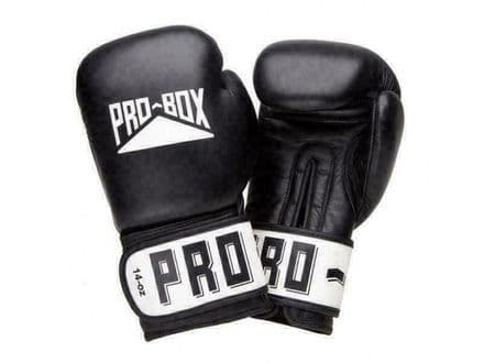 Pro Box Boxing Gloves Sparring Training Leather Club Essentials - Black