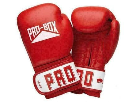 Pro Box Boxing Gloves Sparring Training Leather Club Essentials - Red
