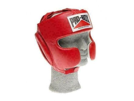 Pro Box Boxing Head guard Super Spar Leather Sparring Training - Red