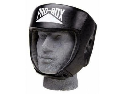 Pro Box Boxing Headguard Sparring Training Leather Club Essential - Black