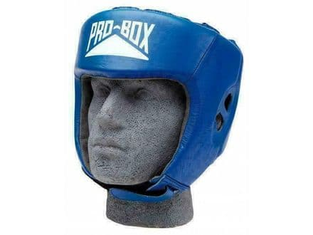 Pro Box Boxing Headguard Sparring Training Leather Club Essential - Blue
