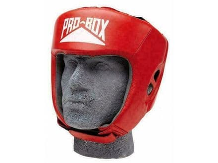 Pro Box Boxing Headguard Sparring Training Leather Club Essential - Red