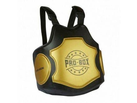 Pro Box Hi Impact Black- Gold Coaches Boxing Body Protector Pad Belly Sparring