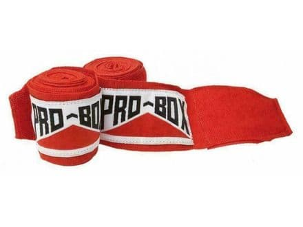 Pro Box Junior Hand Wraps AIBA Stretch Light Red Sparring Training