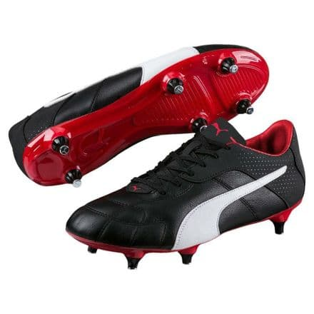 Puma Esito Classico Soft Ground Football Boots - Black/Red - Soccer Training