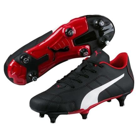 Puma Junior Classico Soft Ground Football Boots - Black/Red - Soccer Training