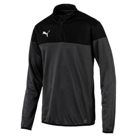Puma Mens Football PLAY 1/4 Zip Top Jacket - Grey/Black