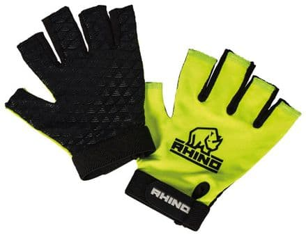 Rhino Official Pro Half Finger Mitts Gloves - Kids & Adult Yellow