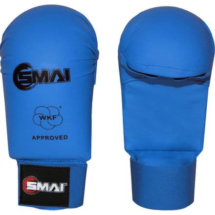 SMAI WKF Approved Mitts Without Thumb - Blue & Red - Karate