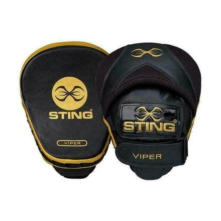 Sting Boxing Focus Mitts - Viper Speed Pads Black Gold Leather