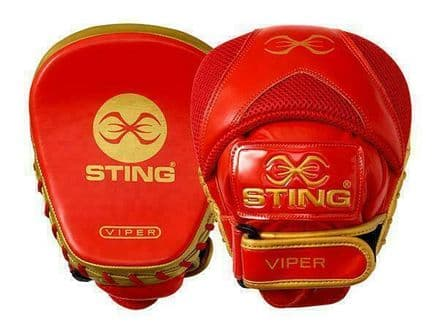Sting Boxing Focus Mitts - Viper Speed Pads Red Gold Leather
