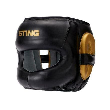Sting Boxing Head Guard Evolution Face Shield Black Gold Leather