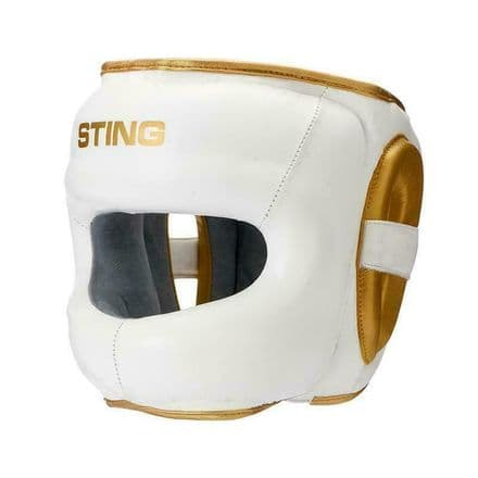 Sting Boxing Head Guard Evolution Face Shield White Gold Leather